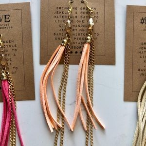 Jewelry - 🌺3 for $20🌺 gold & leather dangling earrings